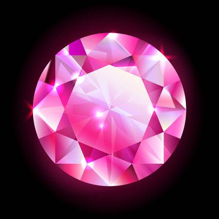 design element red round diamond isolated on black