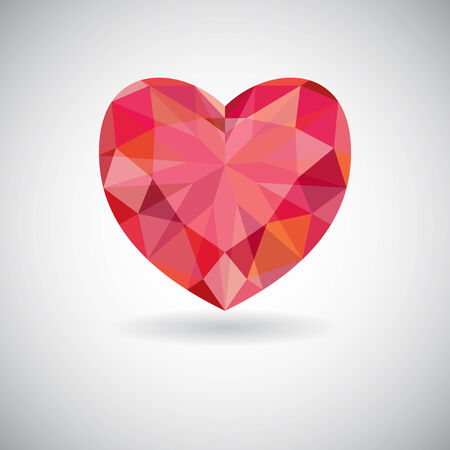 Red geometric heart icon, valentines day background