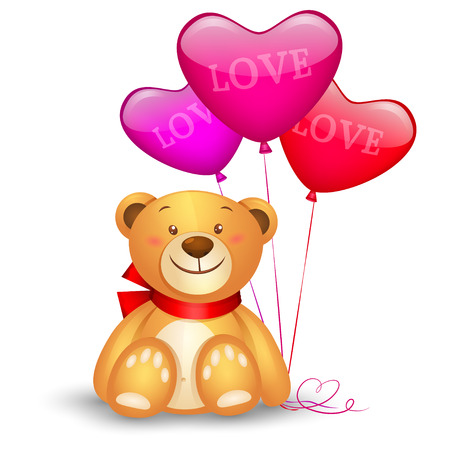 Cute teddy bear with in heart shape balloons, festive icon, valentines day Vector
