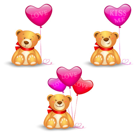 valentine s day teddy bear: Set of cute teddy bears with in heart shape balloons, festive icon, valentines day