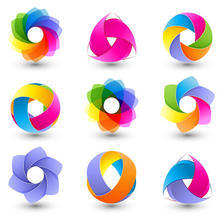 Set of abstract round vector design element