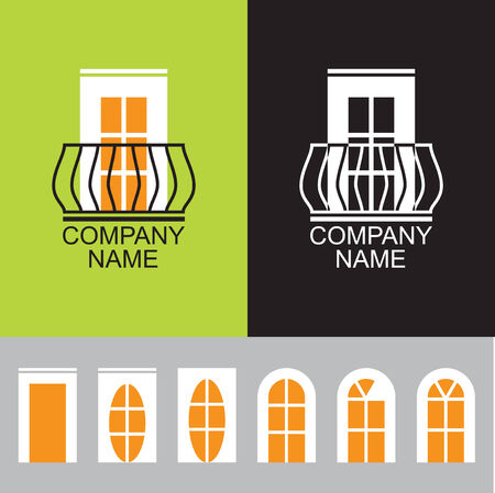 construction firm: Balcony icon with a set of different windows and doors, elements of company business logo design, a set of business icons