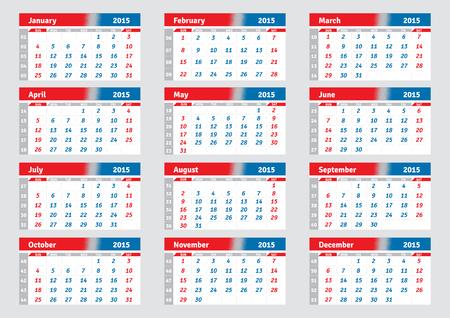 quarterly: English calendar 2015, horizontal grid for the quarterly wall calendar, vector Illustration