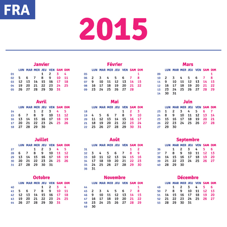 French calendar 2015, horizontal calendar grid, vector Vector