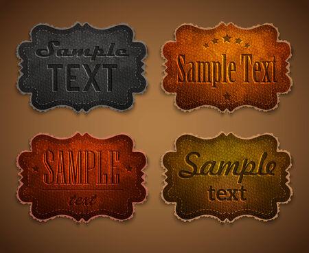 Set of colored leather labels Illustration