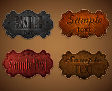 Set of colored leather labels Illustration
