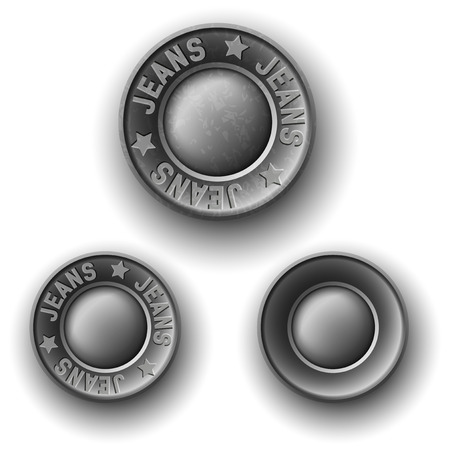 Set of gray metal button, icons, isolated on white Vector