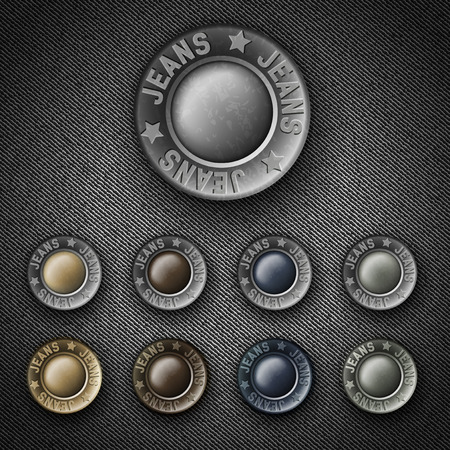 mezclilla: Conjunto de botones de metal de colores con vaqueros inscripci�n, iconos en denim Vectores