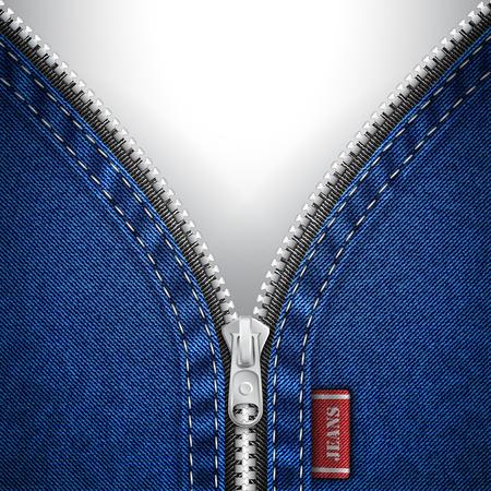 Denim background with open zipper Vector
