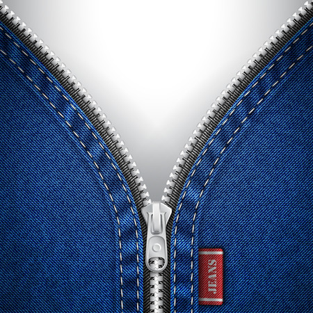 Denim background with open zipper Illustration