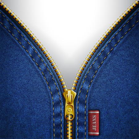 Denim background with open zipper Illustration