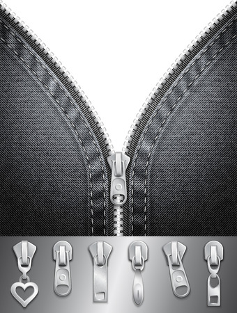 Denim background with open zipper and sliders set Vector