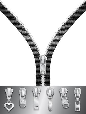 Open zipper with sliders set Illusztráció