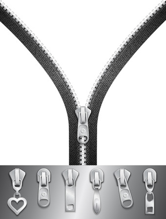 Open zipper with sliders set Stok Fotoğraf - 26540765