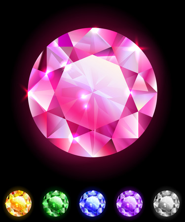 Set of geometric icons, round diamonds, isolated on black, design elements