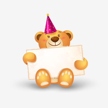 sweet background: Cute teddy bear with in heart shape balloons, festive icon, birthday greetings