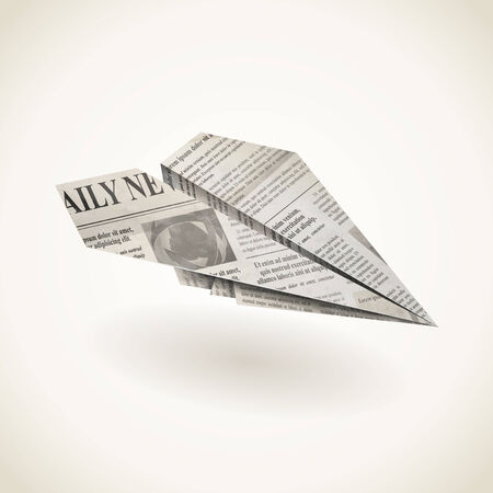 folded newspaper: Paper airplane folded newspaper, vector icon Illustration