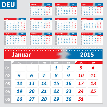 German calendar 2015, horizontal grid for the quarterly wall calendar, vector Vector