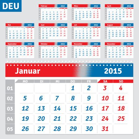 quarterly: German calendar 2015, horizontal grid for the quarterly wall calendar, vector Illustration
