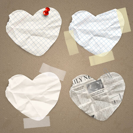 Set of paper lable in the shape of heart Vector