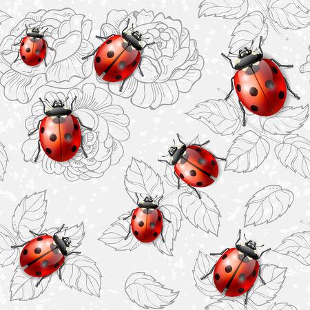 Naadloze textuur met bloemen, bladeren en lieveheersbeestjes Stock Illustratie