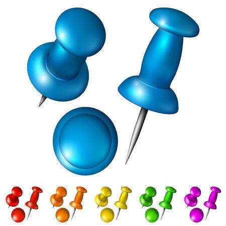pushpins: Conjunto de chinchetas multicolores sobre un fondo blanco