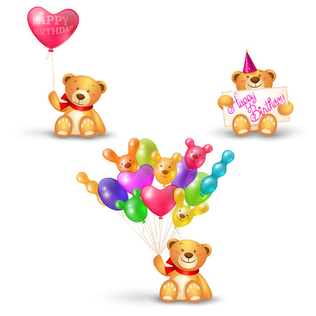 Set of cute teddy bears with balloon heart shaped, banner and a bunch of balls, holiday icons, birthday greetings Vector