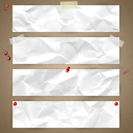 Set of horizontal banners with the texture of crumpled paper, fixed with tape, pins, paper clips  Vector