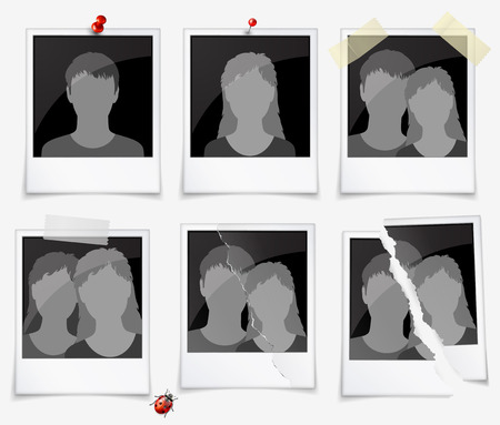 love picture: Set of photo frames with silhouettes of men and women Illustration