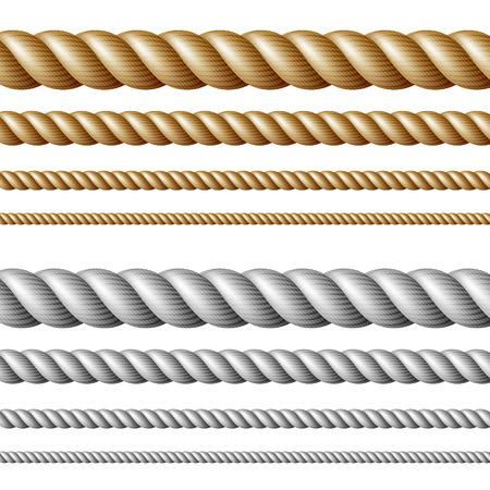 Set of ropes, isolated on white Illustration