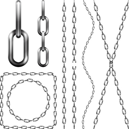 silver metal: Set of metal chain, isolated on white Illustration