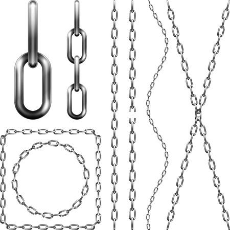 Set van metalen ketting, geïsoleerd op wit