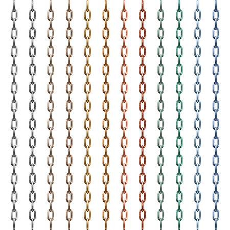 bijouterie: Set of multi-colored metal chain isolated on white Illustration