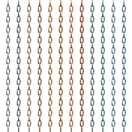 Set van multi-gekleurde metalen ketting geïsoleerd op wit Stock Illustratie