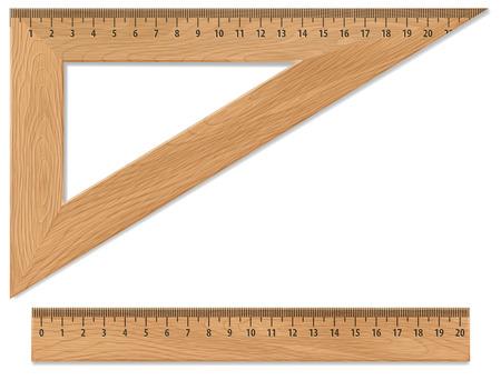 Houten driehoek en liniaal, geïsoleerd op wit