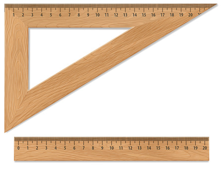 triangle objects: Wooden triangle and ruler, isolated on white