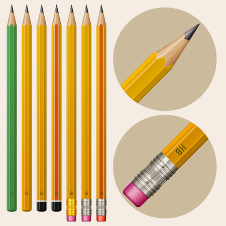 sharpen: Set of monochrome pencils with erasers, isolated on white