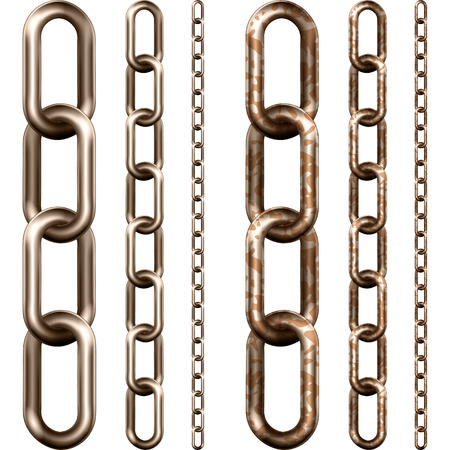 metal chain: Set of metal chain, isolated on white Illustration