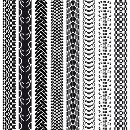 Verzameling fietsband tracks, naadloze textuur Stock Illustratie