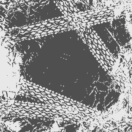 Grunge background with tire track Vettoriali