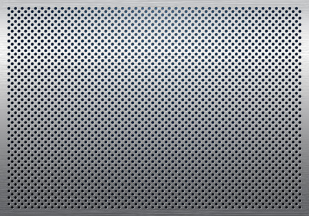 sheet metal: Gray metal background, perforated metal texture Illustration