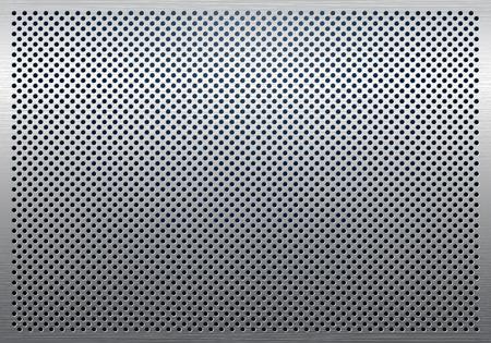 Grijze metaal achtergrond, geperforeerd metalen structuur Stock Illustratie