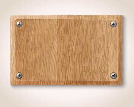 Vector rechthoekige houten plaat met schroeven