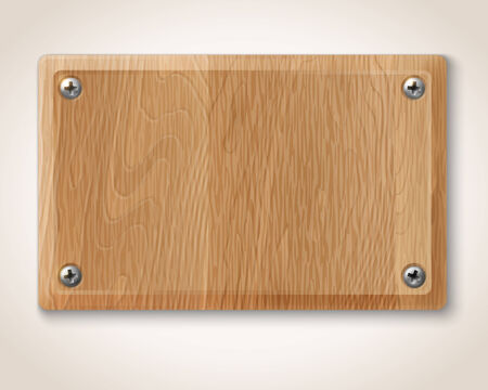 Vector rectangular wooden plate with screws