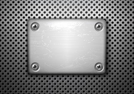 Vector rectangular metal plate with screws Vector