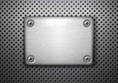 Vector rectangular metal plate with screws Vector