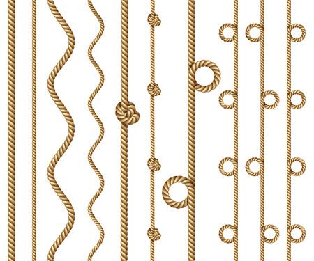 Set van touw randen, geïsoleerd op wit Stock Illustratie