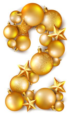 hristmas: 2 number made of shiny ?hristmas tree balls and stars
