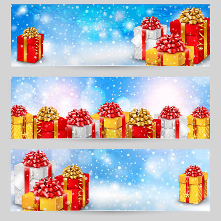 horizontal border: Set of horizontal festive winter banners with gift boxes