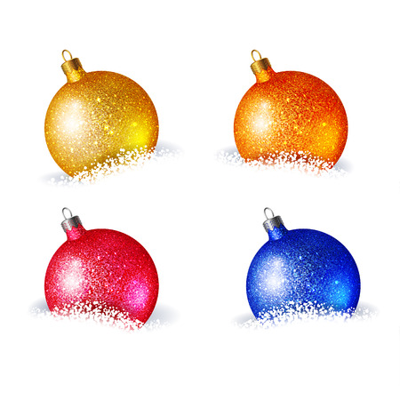 lie: Set of bright colored Christmas balls, which lie in the snow